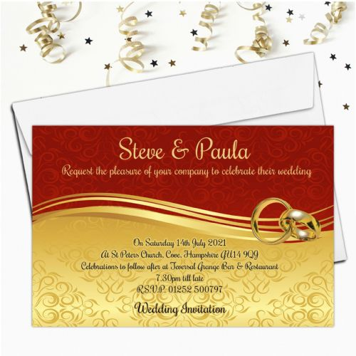 10 Personalised Red and Gold Scroll Wedding Invitations Day/Evening N63